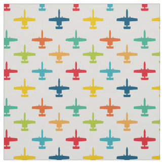 Colorful A-10 Warthog Attack Jet Pattern Primaries Fabric