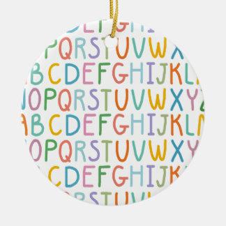 Colorful ABCs Round Ceramic Ornament