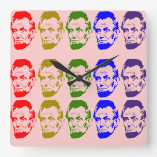 Colorful Abe Lincoln Wall Clock Peach