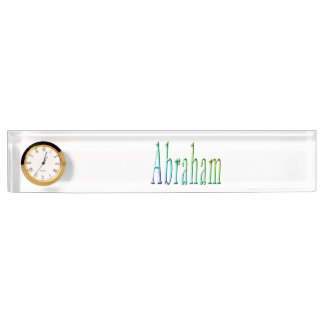 Colorful Abraham Boys Name Logo, Name Plate
