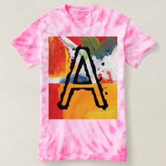 Colorful abstact art Monogram tie-dye t-shirt