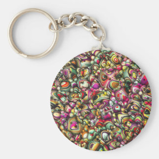 Colorful Abstract 3D Shapes Basic Round Button Keychain