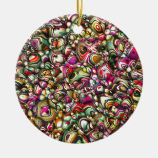 Colorful Abstract 3D Shapes Ceramic Ornament