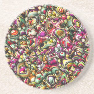 Colorful Abstract 3D Shapes Coaster