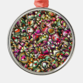 Colorful Abstract 3D Shapes Metal Ornament