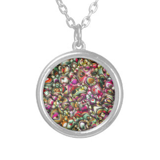 Colorful Abstract 3D Shapes Silver Plated Necklace