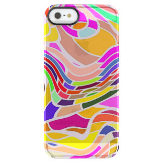 Colorful Abstract Art, Colorful Shapes White Lines Clear iPhone SE/5/5s Case