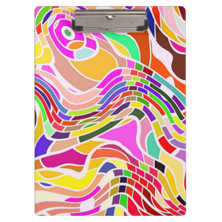 Colorful Abstract Art, Colorful Shapes White Lines Clipboard