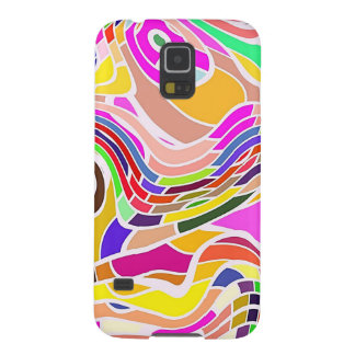 Colorful Abstract Art, Colorful Shapes White Lines Galaxy S5 Case