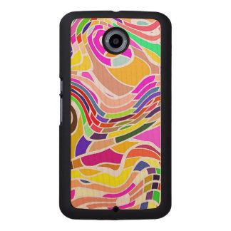 Colorful Abstract Art, Colorful Shapes White Lines Wood Phone Case