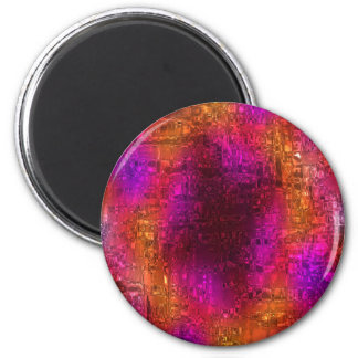 Colorful Abstract Art, Purple Orange Pink 2 Inch Round Magnet