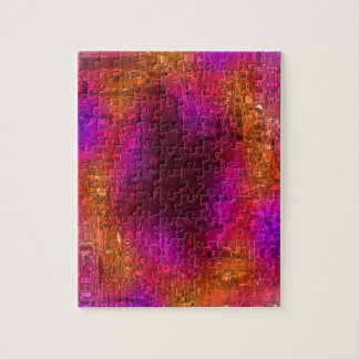 Colorful Abstract Art, Purple Orange Pink Jigsaw Puzzle
