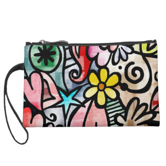 Colorful Abstract Art Sueded Mini Clutch