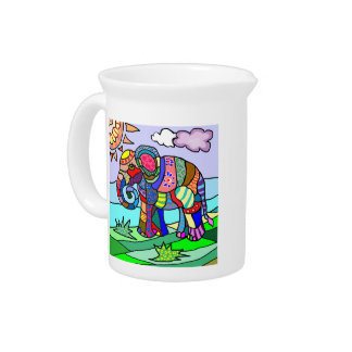 Colorful abstract artistic folcloristic elephant pitcher