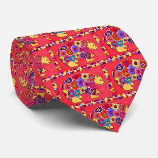 Colorful Abstract Artistic Primitive Flower Bear Tie