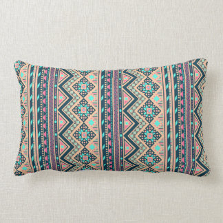 Colorful Abstract Aztec Tribal Pattern Lumbar Pillow