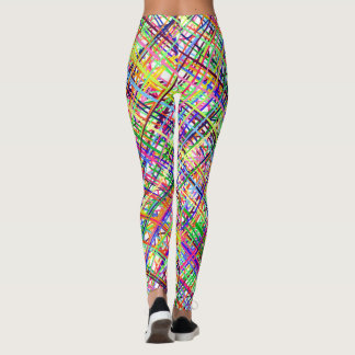 Colorful abstract background with drawn lines leggings
