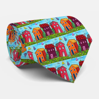 Colorful Abstract Boho Artistic House Cottage Tie