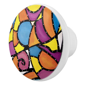 Colorful Abstract Bright Colors Ceramic Knob