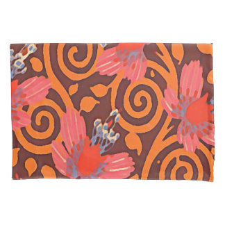 Colorful Abstract Brown Twirls Pink Butterflies Pillowcase