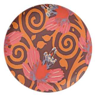 Colorful Abstract Brown Twirls Pink Butterflies Plate