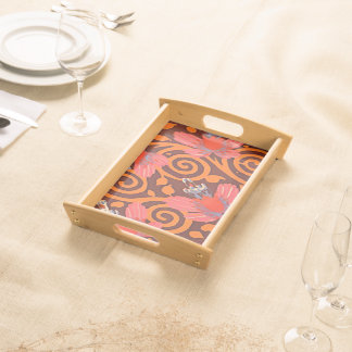 Colorful Abstract Brown Twirls Pink Butterflies Serving Tray