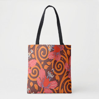Colorful Abstract Brown Twirls Pink Butterflies Tote Bag