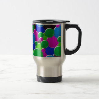 Colorful abstract bubbles design travel mug