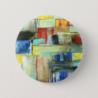 Colorful Abstract Cityscape Original Art Painting 2 Inch Round Button