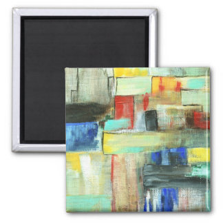 Colorful Abstract Cityscape Original Art Painting Square Magnet