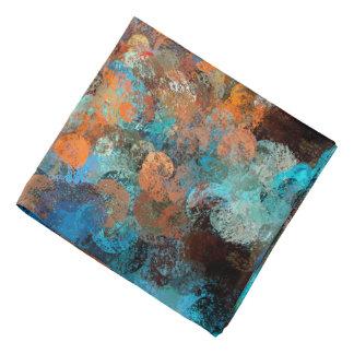 Colorful Abstract Design, Blues And Brown Circles Bandana