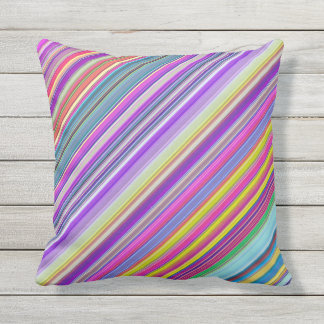 Colorful Abstract Diagonal Stripe Print Outdoor Pillow