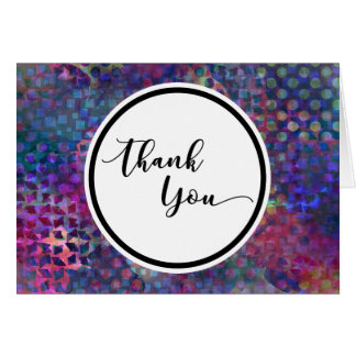 Colorful, Abstract Digital Art Thank You in Circle Card