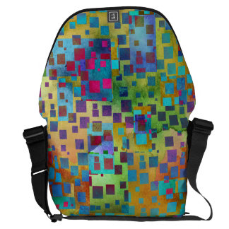 Colorful Abstract Digital Art with Squares Courier Bag