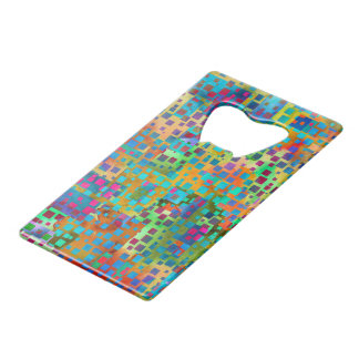 Colorful Abstract Digital Art with Squares Credit Card Bottle Opener