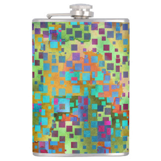 Colorful Abstract Digital Art with Squares Hip Flask