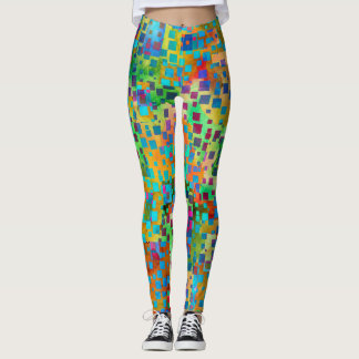 Colorful Abstract Digital Art with Squares Leggings