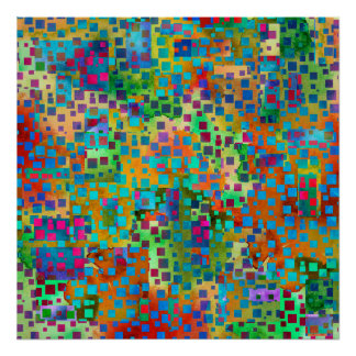 Colorful Abstract Digital Art with Squares Poster