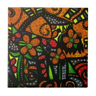 Colorful Abstract Dog Tile