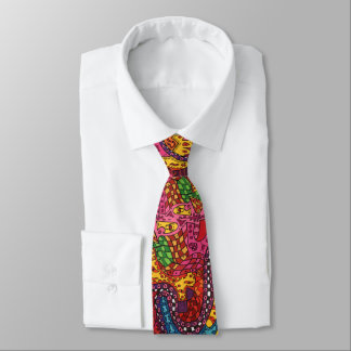 Colorful Abstract Doodle Drawing Graffiti Wild Fun Tie