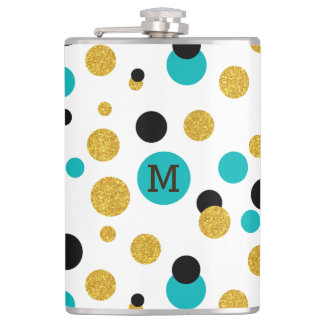 Colorful abstract dots pattern hip flask