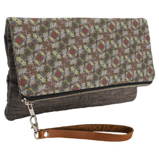 Colorful Abstract Doves Pattern Clutch