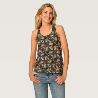 Colorful Abstract Doves Pattern Tank Top