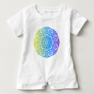 Colorful abstract ethnic floral mandala design baby romper