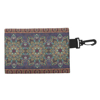 Colorful abstract ethnic floral mandala pattern accessory bag