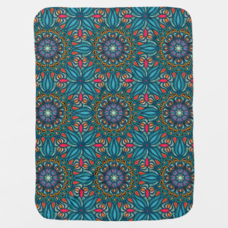 Colorful abstract ethnic floral mandala pattern baby blanket