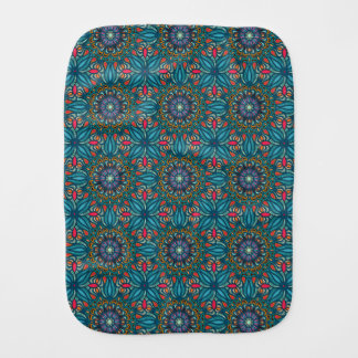 Colorful abstract ethnic floral mandala pattern baby burp cloth
