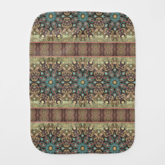 Colorful abstract ethnic floral mandala pattern baby burp cloths