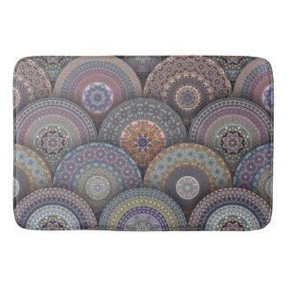 Colorful abstract ethnic floral mandala pattern bath mat