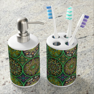 Colorful abstract ethnic floral mandala pattern bathroom set
